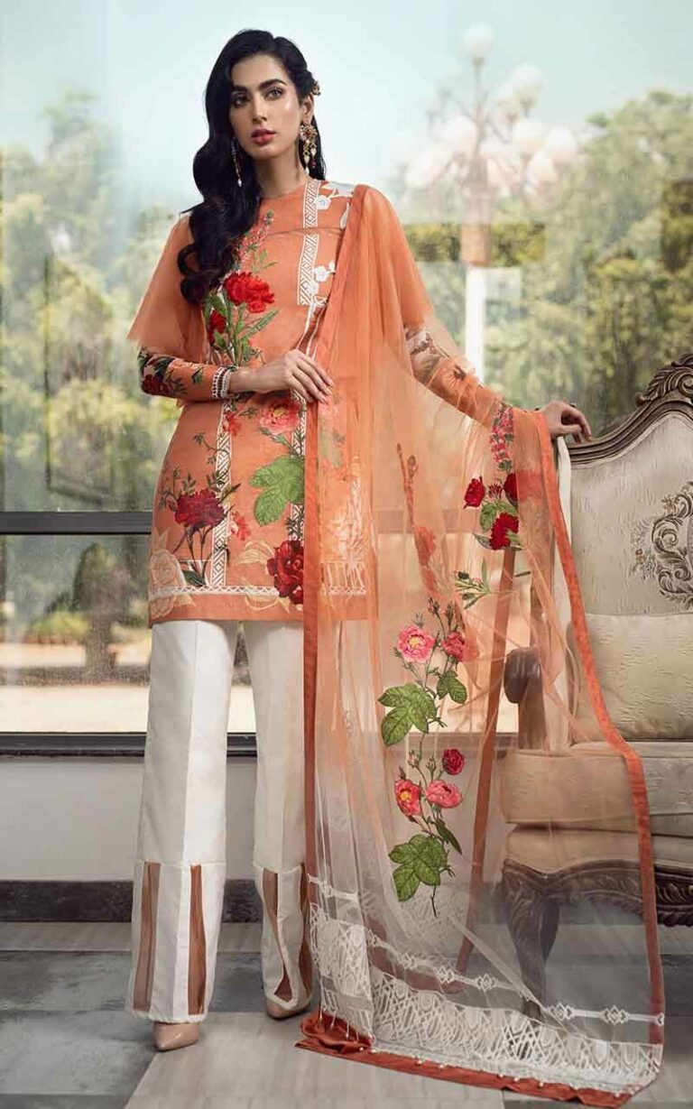 Asifa and Nabeel 99-R Rose Radiance Luxury Lawn Vol 1