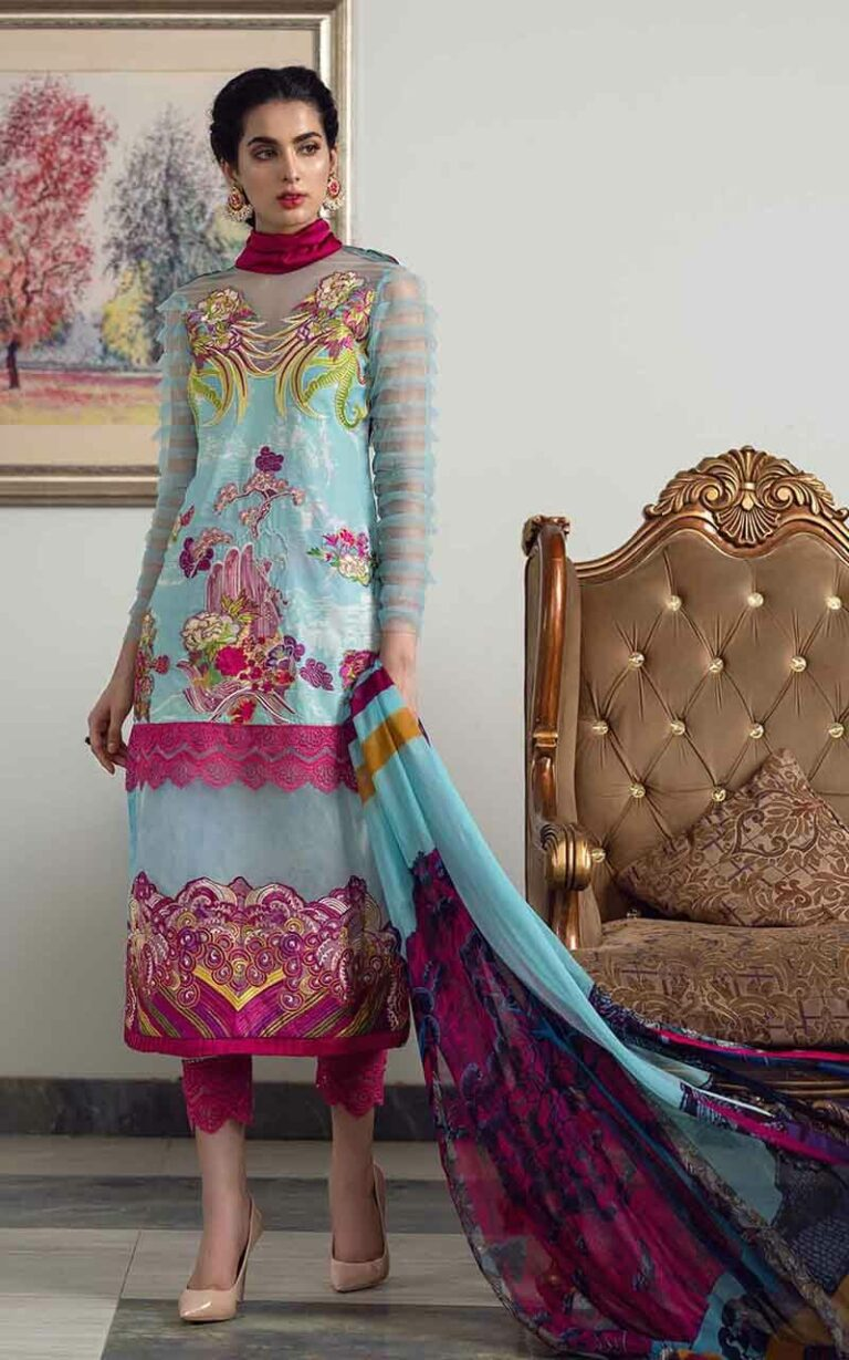 Asifa and Nabeel 9-T Rainbow Bouquet Luxury Lawn Vol 1